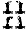 black silhouettes hands holding spoon fork vector image vector image