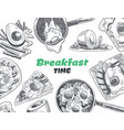 breakfasts and brunches top view food menu cover vector image