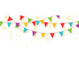 carnival garland with flags confetti and ribbons vector image vector image