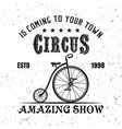 circus vintage emblem with juggler bicycle vector image vector image