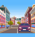 city center road with transport in motion vector image vector image