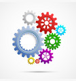 colorful gears on white isolated background vector image vector image