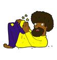 comic cartoon hippie man vector image vector image