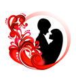 Couple in red floral frame vector image vector image