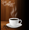 cup coffee with coffee beans and smoke vector image