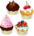 Cupcakes and muffins different flavors and colors vector image