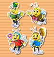 Cute bee in costumes vector image vector image