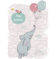 cute elephant fly with balloons vector image vector image