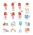 diabetes cartoon icons set vector image vector image