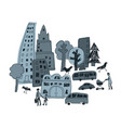 doodles urban city abstract landscape and people vector image vector image