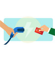 electric car charging payment using credit card vector image vector image