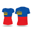Flag shirt design of Liechtenstein vector image vector image