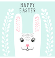 Funny bunny rabbit head in floral wreath Happy vector image
