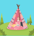 girl inside teepee traditional native america tent vector image