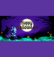 halloween background with evil witch vector image