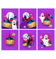 halloween greeting cards set vector image