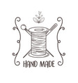 hand made sewing with thread tubino and needles vector image vector image