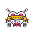 handmade colorful logo template since 1935 retro vector image vector image