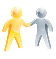 handshake silver and gold people concept vector image vector image