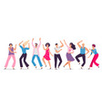 happy dancing people friends dance club female vector image