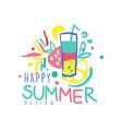 happy summer logo design label for summer holiday vector image vector image