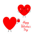 happy valentines day red heart couple in love vector image