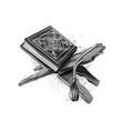 holy book koran with rosary muslim holiday vector image vector image
