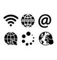 internet sign symbol icon set on white background vector image vector image