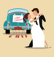 just married couple dancing and car vector image