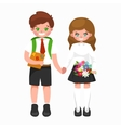 little girl and boy with school backpack books vector image