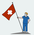 male doctor standing with heath flag cartoon vector image vector image