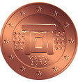 money bronze coin five euro cent vector image vector image