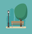 park with bench and streetlight vector image vector image