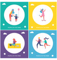 people having rest in park cartoon banner set vector image
