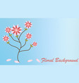 pink flowers swallowtail bouquet on soft blue vector image vector image