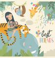 pretty girl with cartoon animal happy friends vector image vector image