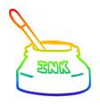 rainbow gradient line drawing cartoon ink pot vector image vector image