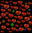 red polygonal heart with colorful stars random vector image vector image