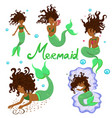 set black mermaids isolated on a white vector image vector image