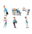 set of funny business characters vector image