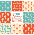 Set of seamless ice-cream cones patterns vector image