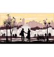 silhouettes of people on city background with vector image vector image