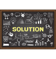 Solution on chalkboard vector image vector image