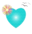The heart of the sea waves and tropical flower vector image vector image