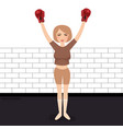 woman celebrating win in boxing wearing gloves vector image vector image
