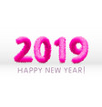 wooly pink hairy shaggy wool 2019 happy new year vector image vector image