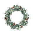 wreath with pine branches and red berries cotton vector image