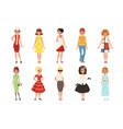 young women wearing retro clothing set vintage vector image vector image