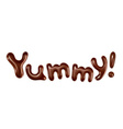 Yummy inscription stylish isolated on white vector image vector image