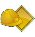 hardhat and road sign vector image